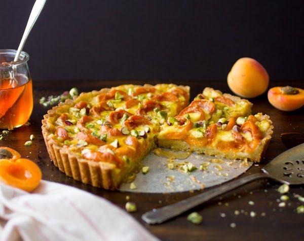 Apricot Crème Fraîche Tart with Honey and Pistachios