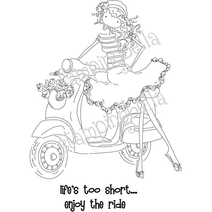 Uptown Girl Vienna And Her Vespa Stamping Bella Unmounted Rubber Stamp EB223