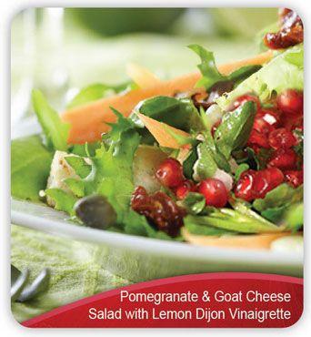 Pomegranate and Goat Cheese Salad with Lemon Dijon Vinaigrette