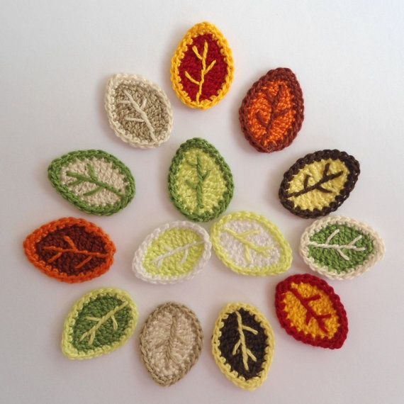 Crocheted leaves