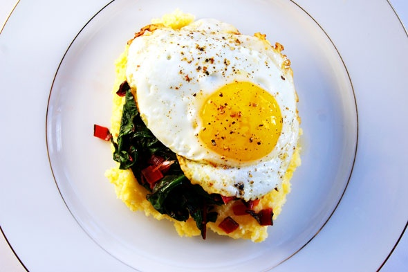Fried Eggs And Collard Greens Over Polenta Recipe — Dishmaps