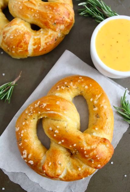 Rosemary Sea Salt Pretzels with Rosemary Cheddar Cheese Sauce | Recipe