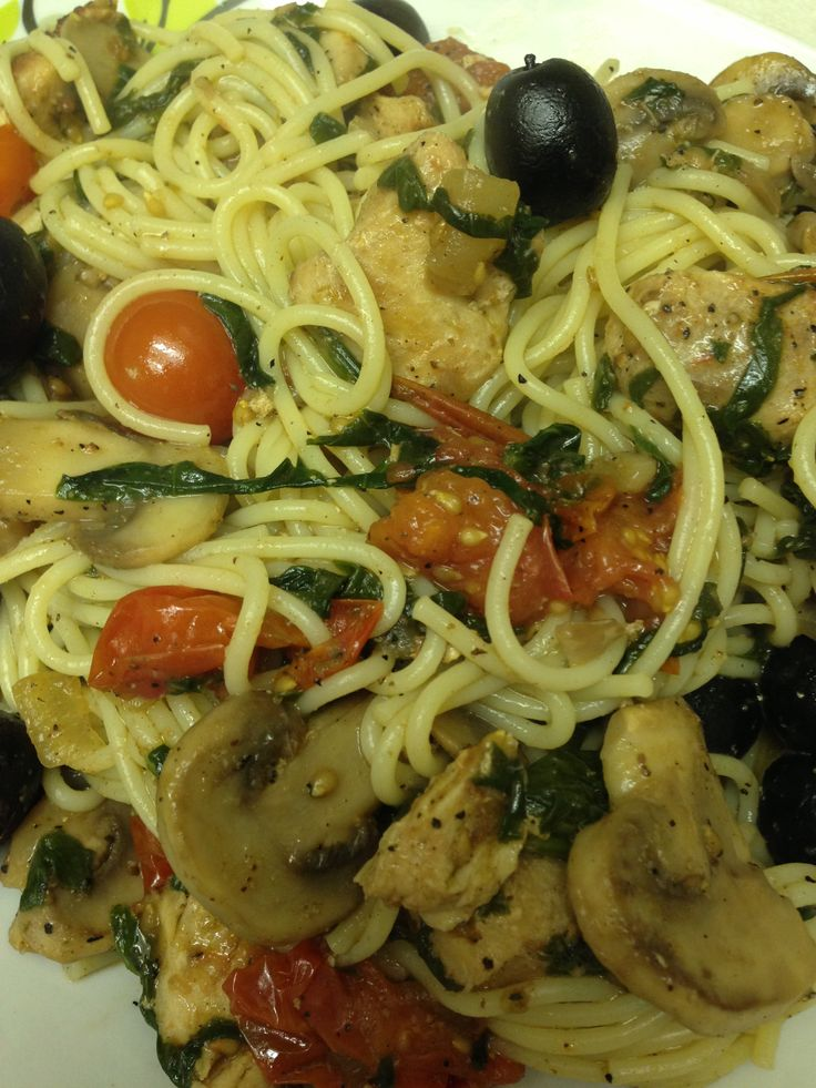 Free Pasta Gluten free pasta - cooked, 1Tbsp olive oil, 1/2cup onion ...