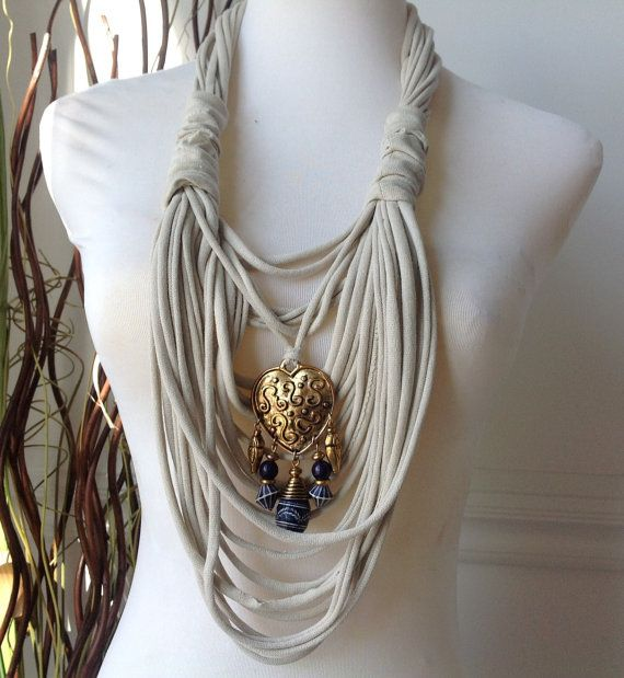 Scarf Necklace Beige with Gold Heart and Beads by MySassyScarfs, $22.00