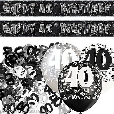 Black silver glitz 40th birthday banner party decoration for 40th birthday decoration packs