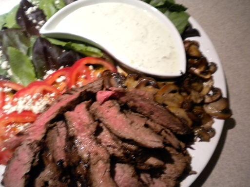 Flank Steak with Mushrooms and a Gorgonzola Basil Dressing | Recipe