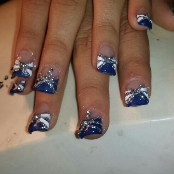 acrylic nailsblue and silver glitter acrylic nails art