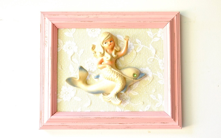 Vintage Wall Decor For Nursery : Reserved mermaid dolphin nursery art vintage chic home decor