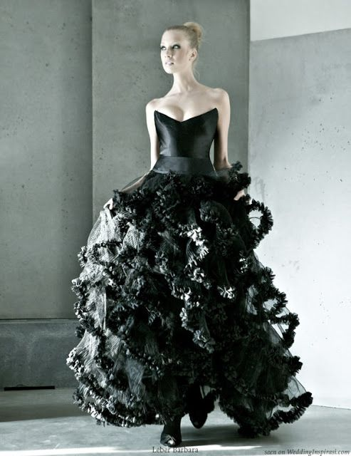 Black Ruffle Wedding Dress Wedding Dresses Pinterest