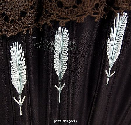Corset embroidery detail, 1895, Symington Collection, Leicestershire County Council.