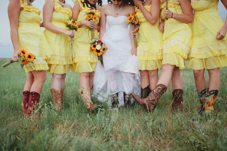Yellow Bridesmaid Dresses With Cowboy Boots 29