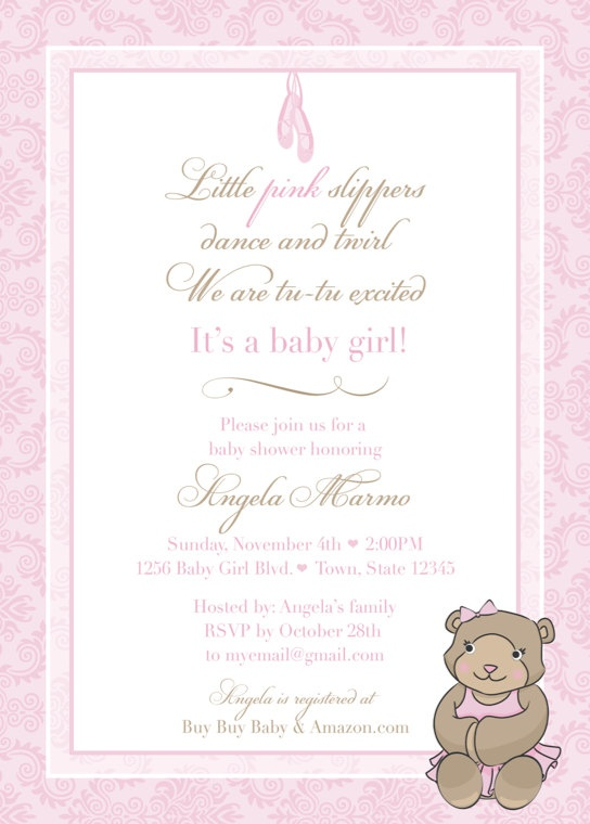 diy baby shower invitation teddy bear ballerina template