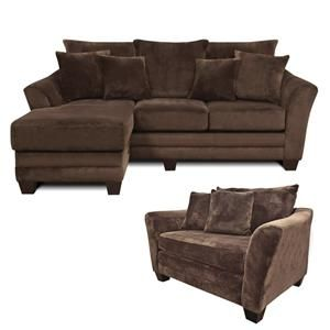 Mart xenia contemporary brown sofa chaise and chair and a half
