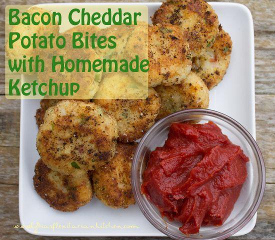 Bacon Cheddar Potato Cakes With Homemade Ketchup