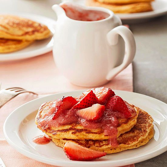 strawberry vanilla rhubarb sauce grain pancakes with strawberry ...