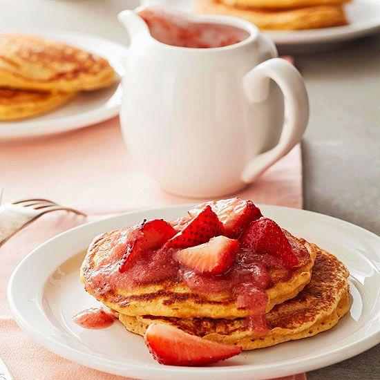 strawberry vanilla rhubarb sauce grain pancakes with strawberry ...