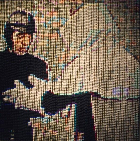 Paula Dittborn, parte del díptico Montag, plasticina sobre madera, 85 x 85, 2011;Montag II, plasticina sobre madera, 40 x 40, 2011. Cortesía de Francisca García