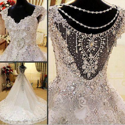 Heavily crystal beaded wedding gown wedding stuff Wedding dresses with crystal beading