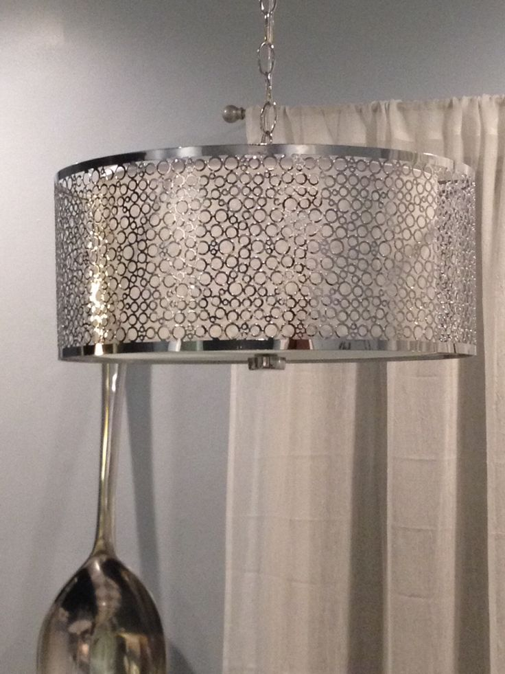 chrome drum light over kitchen table for the home