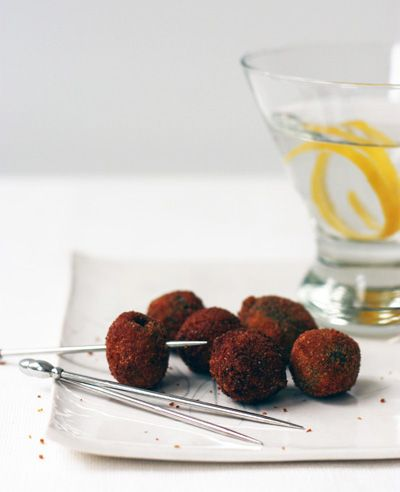 Fried Stuffed Olives with Citrus Zest | dinner parties | Pinterest