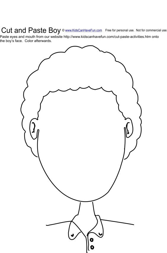 ... and Paste Boy Face Activity | Cut and Paste Worksheets, Activitie