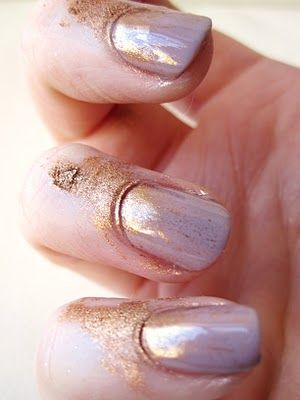 Dab some powder pigment above the cuticle before the polish dries and blow the color onto the nail. Top coat, clean.