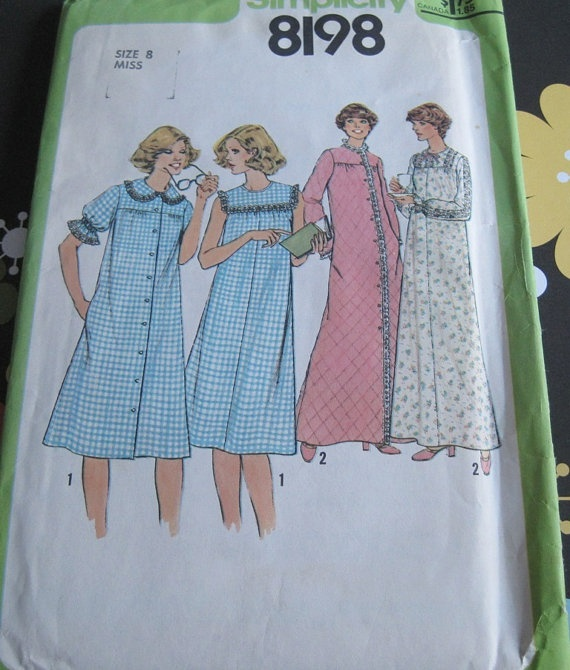 UNCUT Vintage Simplicity Sewing Pattern 8198 Misses Nightgown and Robe ...