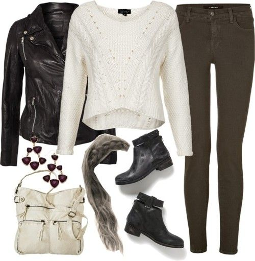 Topshop cotton cable sweater, $29 / SELECTED leather jacket, $310 / J