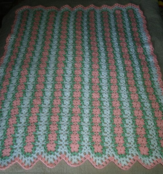 Crochet Afghan Patterns Mile A Minute : Pink Petals Mile A Minute Baby Afghan and Headband