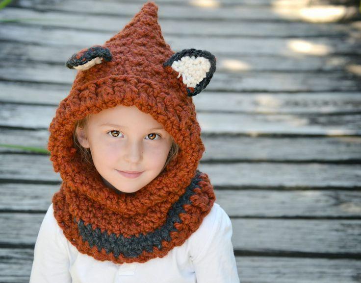 Free Crochet Pattern For Fox Cowl : Crochet Fox Hooded Cowl Toddler, Child, Adult