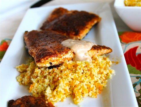 Moroccan Spiced Salmon with Sriracha Yogurt Sauce | Recipe