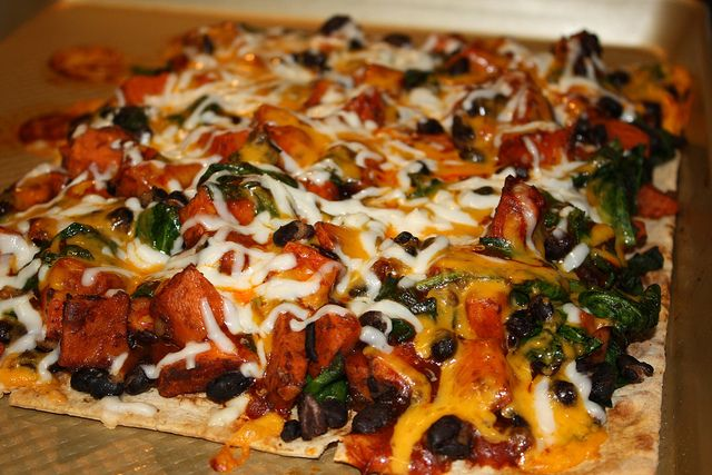 sweet potato, black bean + spinach flatbread} think of it as a ...