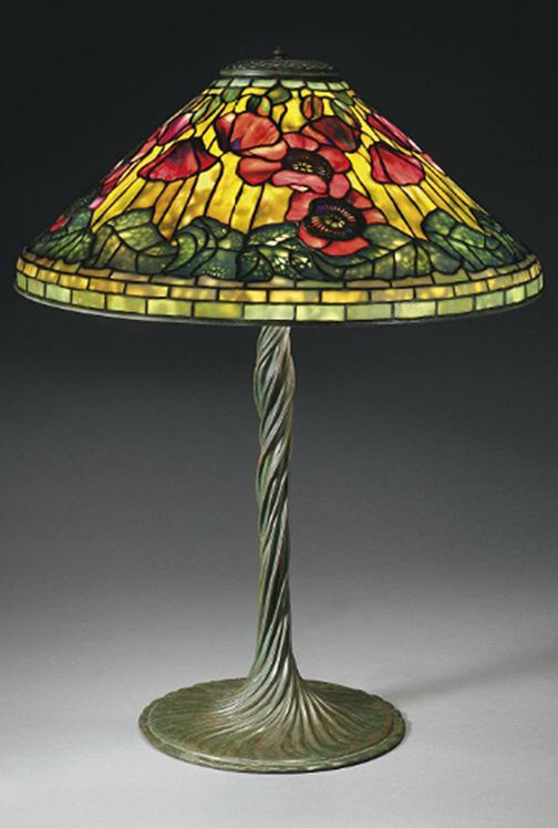 TIFFANY STUDIOS A Poppy Leaded Glass and Bronze Table Lamp, circa ...