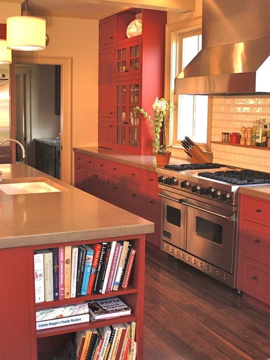 Red Painted Kitchen  Colorful Kitchen Ideas  Pinterest