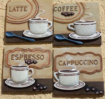 ... Wall Plaques Coffee Cappuccino Espresso Latte French Kitchen Decor 3D