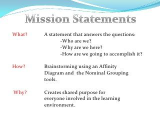 components of personal mission statement