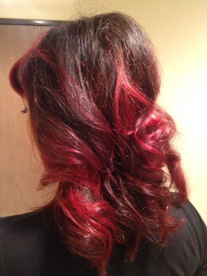 Red Balayage   Dark Brown Hairs