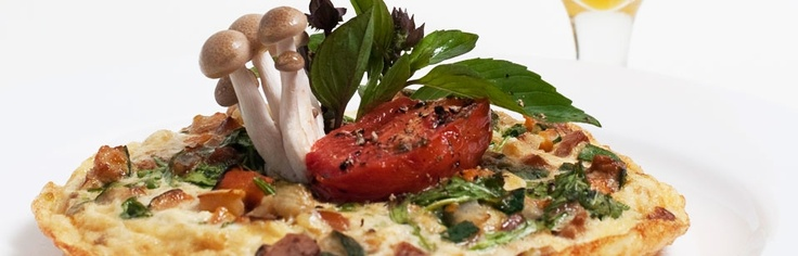 White Frittata - goat cheese, onion, potato, oyster mushroom, basil ...