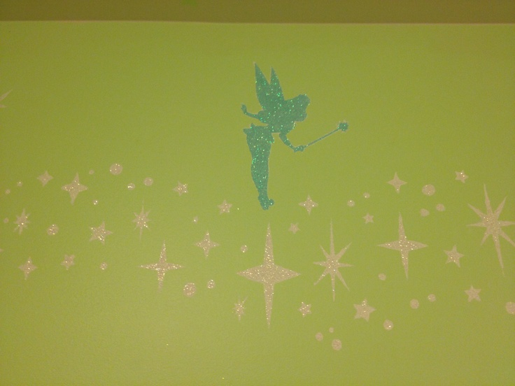 Tinkerbell stencil border with pixie dust painting idea for Tinkerbell stencil