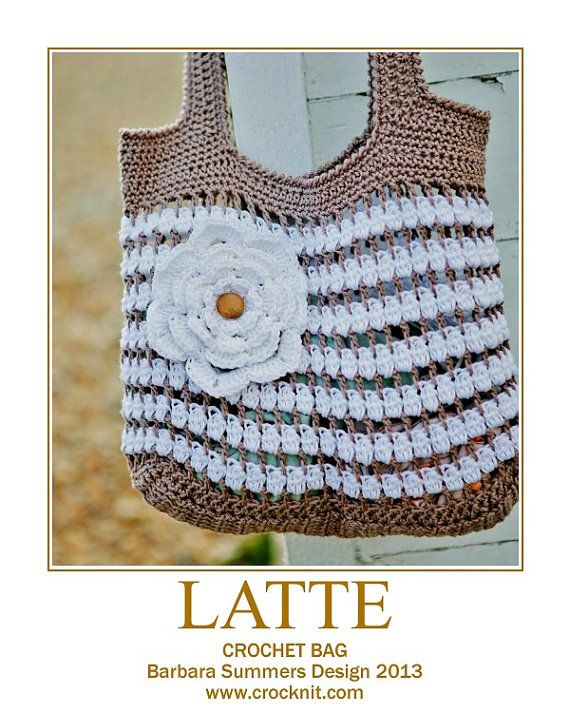 Crochet Bag Pattern Pdf : PATTERN Crochet Bag LATTE UK summer shoulder bag Instant pdf download ...