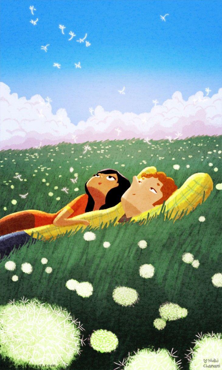 We Dream #illustration #print #love #hope #couple #nidhiart