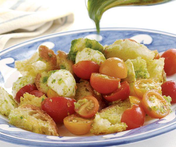 Cherry Tomato Bread Salad with Basil & Fresh Mozzarella | Recipe