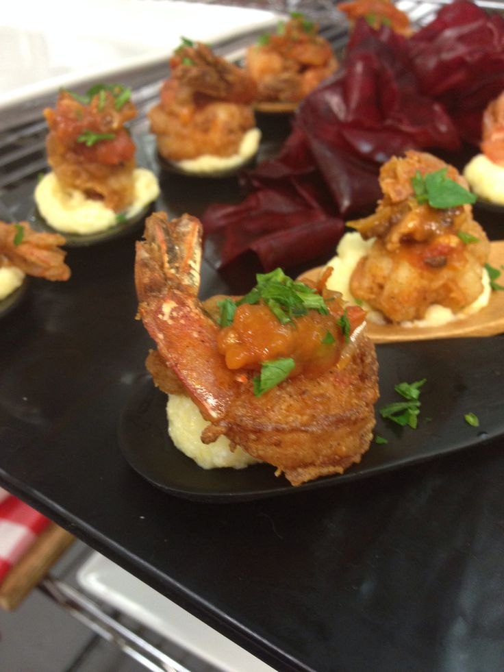 Shrimp and grits with tomato bacon jam | Bites of Love | Pinterest