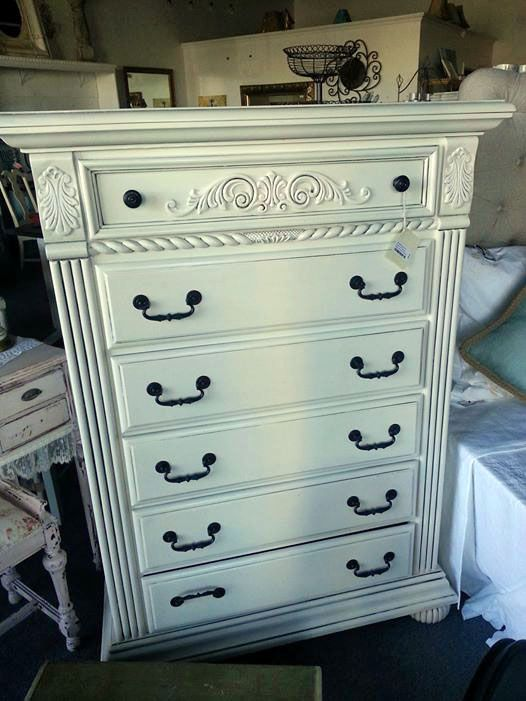 General Finishes Antique White with Ebony glaze in crevices