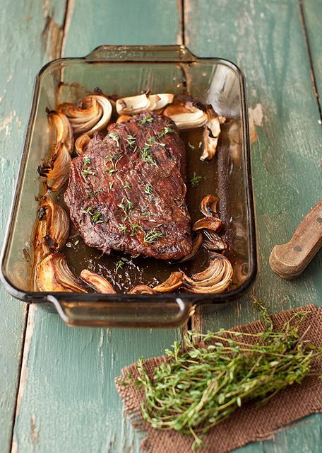 Roasted Flank Steak with Mushrooms The whole recipe is at http://www ...
