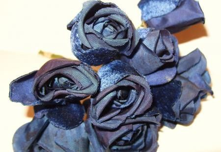 Vintage Navy Blue Roses Velvet Hat Millinery Flowers WWII Era