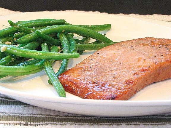 Soy Ginger Salmon with Sesame Green Beans | www.tasteandtellblog.com