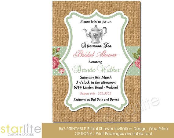 Bridal Shower Invitation Afternoon Tea burlap pink by starwedd, $20.00