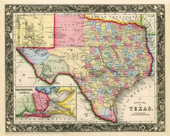 Vintage State Map Of Texas  1860 PRINT  11 X 14quot Larger