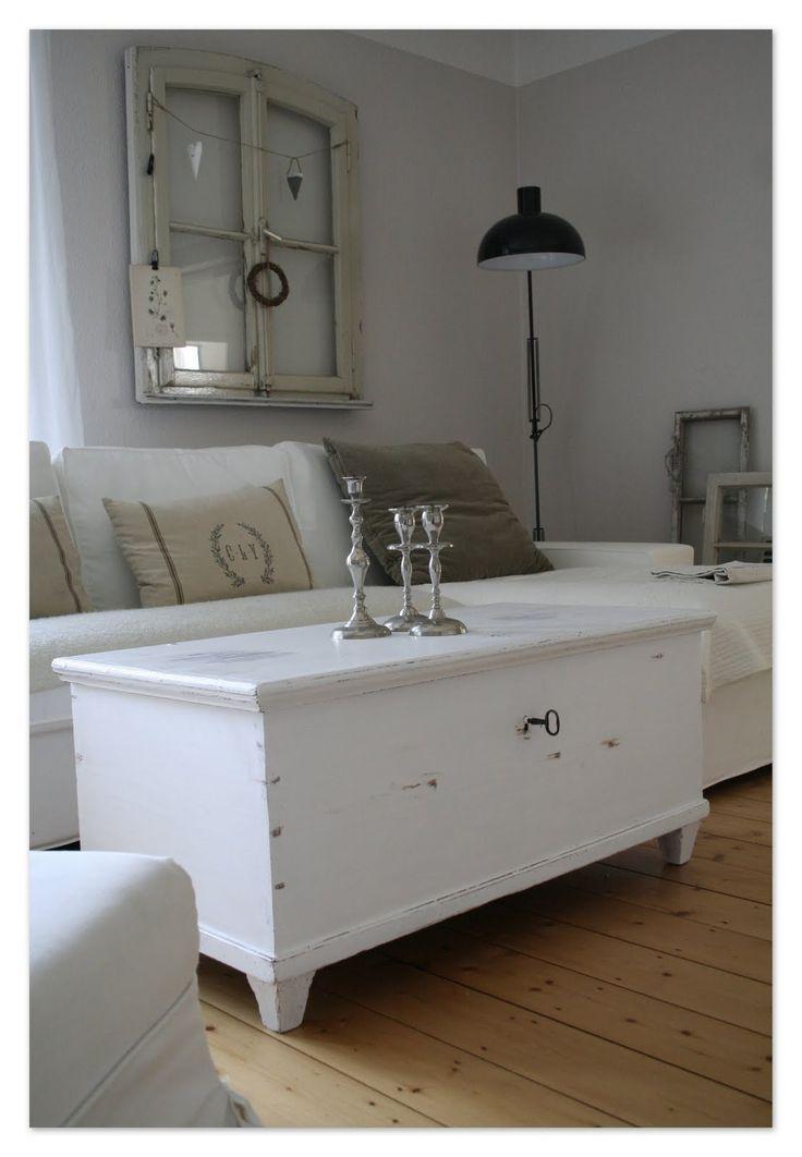 Living Room. White, Grey, Black, Chippy, - http://myshabbychicdecor.com/living-room-white-grey-black-chippy-2/